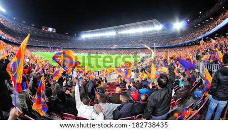 BARCELONA - MAR 12: A view of the Camp Nou Stadium at the football match between Futbol Club Barcelona and Manchester City of the Uefa Champions League Cup on March 12, 2014 in Barcelona, Spain. - stock photo