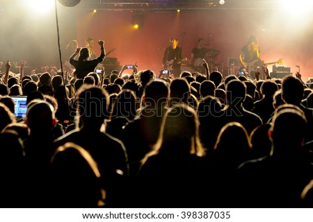 BARCELONA - MAR 17: Crowd in a concert at Razzmatazz stage on March 17, 2016 in Barcelona, Spain.