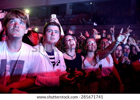 BARCELONA - MAR 30: People in a concert at St. Jordi Club stage on March 30, 2015 in Barcelona, Spain. - stock photo