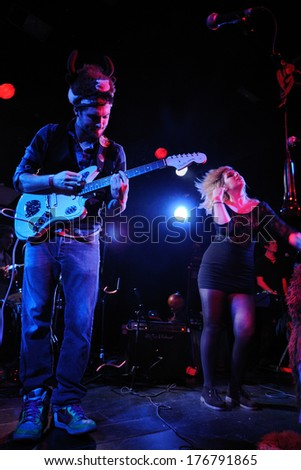 BARCELONA - MAR 24: Sanjays (band) performs at Apolo on March 24, 2011 in Barcelona, Spain. - stock photo