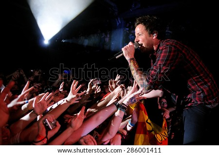 BARCELONA - MAR 13: Simple Plan (teenagers band) performs at Razzmatazz on March 13, 2012 in Barcelona, Spain. - stock photo