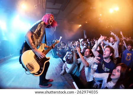 BARCELONA - MAR 18: The Subways (rock band) performs at Bikini stage on March 18, 2015 in Barcelona, Spain. - stock photo