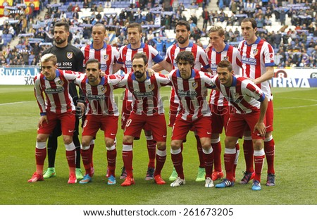 BARCELONA - MARCH, 14: Atletico de Madrid lineup before a Spanish League match against RCD Espanyol at the Estadi Cornella on March 14, 2015 in Barcelona, Spain - stock photo