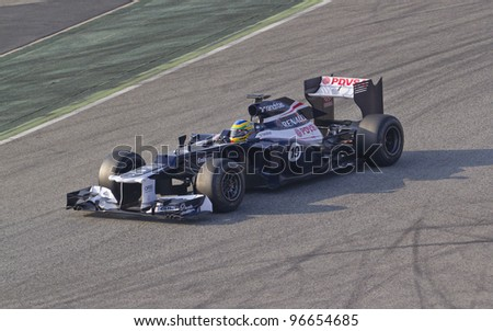 BARCELONA - MARCH 3: Bruno Senna of Williams F1 team racing during Formula One Teams Test Days at Catalunya circuit on March 3, 2012 in Barcelona, Spain.