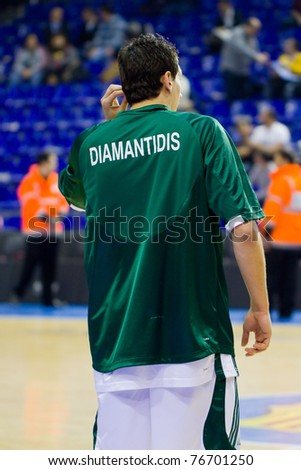 BARCELONA - MARCH 24: Dimitris Diamantidis (13) during the Euroleague basketball match between Barcelona and Panathinaikos, 71-75, on March 24, 2011 in Palau Blaugrana stadium in Barcelona, Spain.