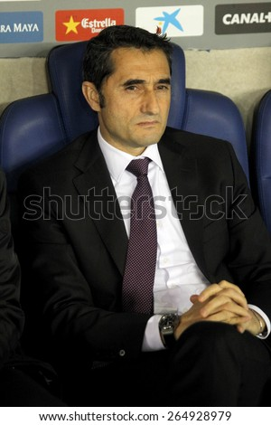 BARCELONA - MARCH, 4: Ernesto Valverde coach of Athletic Bilbao during a Spanish League match between RCD Espanyol vs Bilbao at the Estadi Cornella on March 4, 2015 in Barcelona, Spain - stock photo