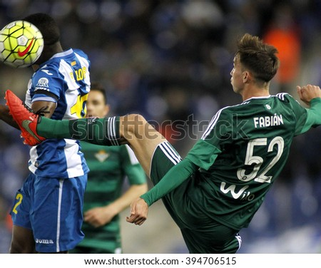 BARCELONA - MARCH, 3: Fabian Ruiz  of Real Betis during a Spanish League match against RCD Espanyol at the Power8 stadium on March 3, 2016 in Barcelona, Spain - stock photo