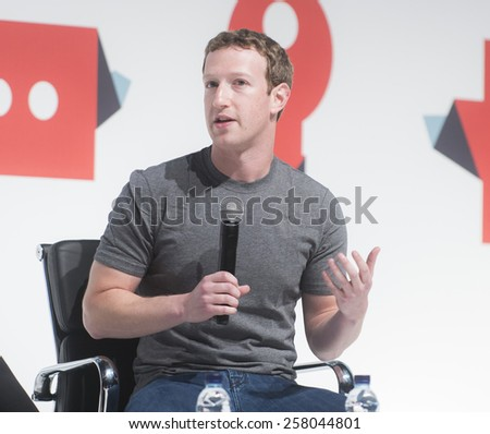 BARCELONA - MARCH 02: Facebook CEO Mark Zuckerberg speaking at the Mobile World Congress on March 02, 2015, Barcelona, Spain.  - stock photo