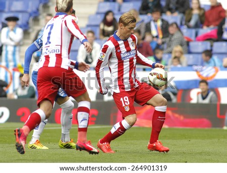 BARCELONA - MARCH, 14: Fernando Torres of Atletico Madrid during a Spanish League match against RCD Espanyol at the Estadi Cornella on March 14, 2015 in Barcelona, Spain - stock photo
