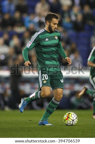 BARCELONA - MARCH, 3: German Pezzella of Real Betis during a Spanish League match against RCD Espanyol at the Power8 stadium on March 3, 2016 in Barcelona, Spain - stock photo