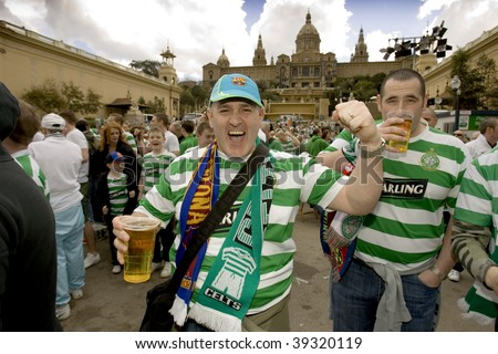 BARCELONA - MARCH 4: Glasgow Celtic FC supporters in Barcelona before Champions League match vs. FC Barcelona at Montjuich mountain on March 4, 2008 in Barcelona, Spain. - stock photo
