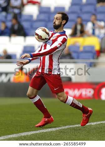 BARCELONA - MARCH, 14; Juanfran Torres of Atletico Madrid during a Spanish League match against RCD Espanyol at the Estadi Cornella on March 14, 2015 in Barcelona, Spain - stock photo