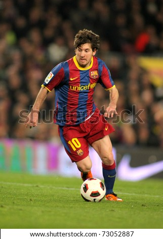 BARCELONA - MARCH 5: Leo Messi of Barcelona during the match between FC Barcelona and Real Zaragoza at the Nou Camp Stadium on March 5, 2011 in Barcelona, Spain - stock photo