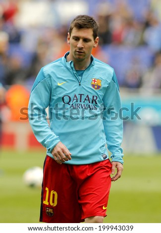 BARCELONA - MARCH, 29: Leo Messi of FC Barcelona before a Spanish League match against RCD Espanyol at the Estadi Cornella on March 29, 2014 in Barcelona, Spain - stock photo