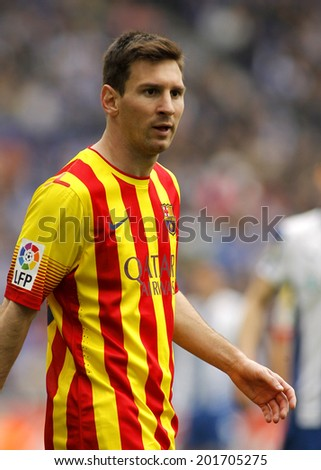 BARCELONA - MARCH, 29: Leo Messi of FC Barcelona in action during a Spanish League match against RCD Espanyol at the Estadi Cornella on March 29, 2014 in Barcelona, Spain - stock photo