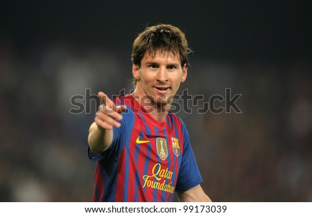 BARCELONA - MARCH, 31: Leo Messi of FC Barcelona in action during the Spanish league match against Athletic Club Bilbao at the Camp Nou stadium on March 31, 2012 in Barcelona, Spain - stock photo
