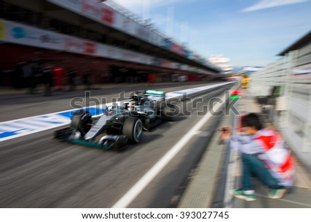 BARCELONA - MARCH 1: Lewis Hamilton of Mercedes AMG F1 Team at Formula One Test Days at Catalunya circuit on March 1, 2016 in Barcelona, Spain. - stock photo