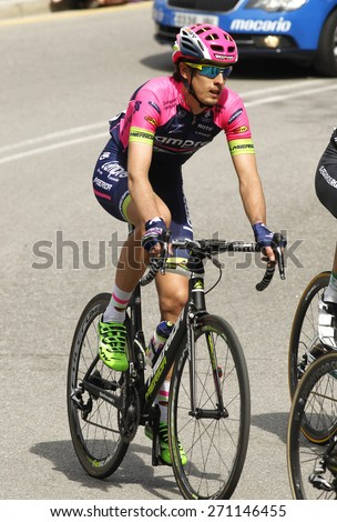 BARCELONA - MARCH, 29: Mattia Cattaneo of Lampre-Merida Team rides during the Tour of Catalonia cycling race through the streets of Monjuich mountain in Barcelona on March 29, 2015 - stock photo