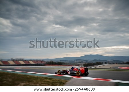 BARCELONA - MARCH 1: Max Verstappen of Scuderia Toro Rosso F1 team at Formula One Test Days at Catalunya circuit on March 1, 2015 in Barcelona, Spain. - stock photo