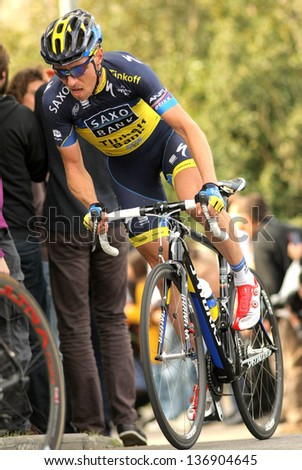 BARCELONA - MARCH, 24: Nicki Sorensen of Saxo Bank Tinkoff Team during the Tour of Catalonia cycling race through the streets of Monjuich mountain in Barcelona on March 24, 2013