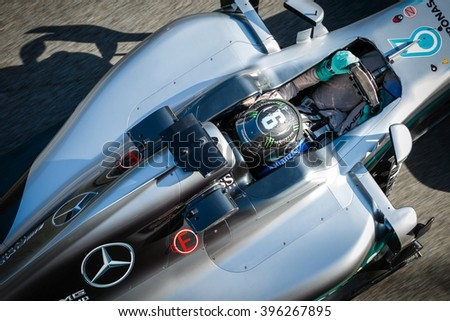 BARCELONA - MARCH 2: Nico Rosberg of Mercedes AMG F1 Team at Formula One Test Days at Catalunya circuit on March 2, 2016 in Barcelona, Spain. - stock photo