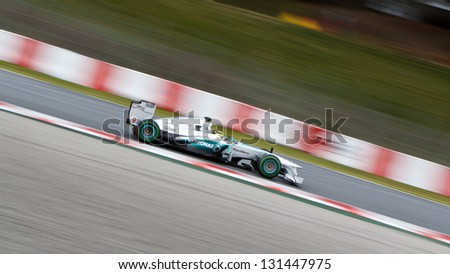 BARCELONA - MARCH 1: Nico Rosberg of Mercedes AMG F1 team during Formula One Test Days at Catalunya circuit on March 1, 2013 in Barcelona, Spain.