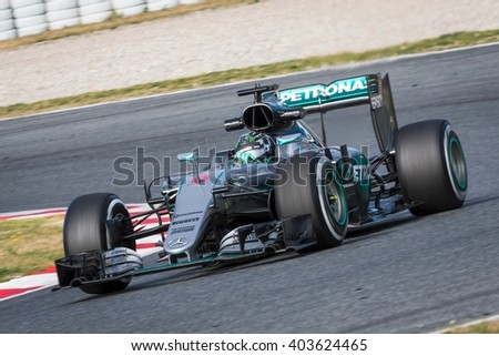 BARCELONA - MARCH 3: Nico Rosberg of Mercedes F1 Team at Formula One Test Days at Catalunya circuit on March 3, 2016 in Barcelona, Spain. - stock photo