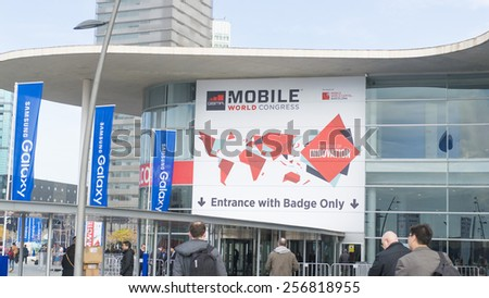 BARCELONA - MARCH 01: outdoor entrance of Mobile World Congress 2015 on March 01, 2015, Barcelona, Spain.  - stock photo