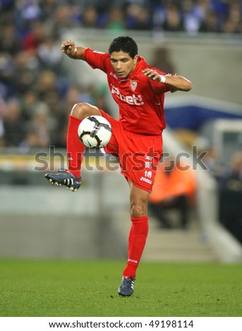 BARCELONA - MARCH 20: Renato Dirnei of Sevilla during a Spanish League match between Espanyol and Sevilla at the Estadi Cornella on March 20, 2010 in Barcelona, Spain - stock photo