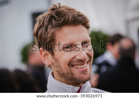 BARCELONA - MARCH 1: Romain Grosjean of Haas F1 Team at Formula One Test Days at Catalunya circuit on March 1, 2016 in Barcelona, Spain. - stock photo