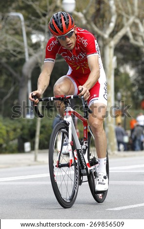 BARCELONA - MARCH, 29: Steve Chainel of Cofidis Team rides during the Tour of Catalonia cycling race through the streets of Monjuich mountain in Barcelona on March 29, 2015 - stock photo