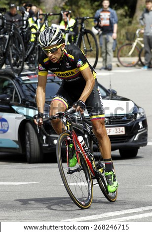 BARCELONA - MARCH, 29: Walter Pedraza of Colombia Team rides during the Tour of Catalonia cycling race through the streets of Monjuich mountain in Barcelona on March 29, 2015 - stock photo