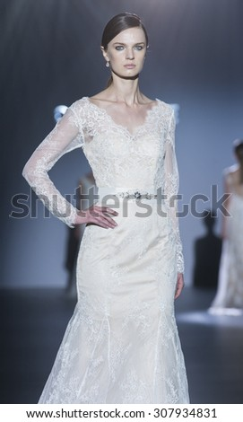 BARCELONA - MAY 07: a model walks on the Cabotine bridal collection 2016 catwalk during the Barcelona Bridal Week runway on May 07, 2015 in Barcelona, Spain.  - stock photo