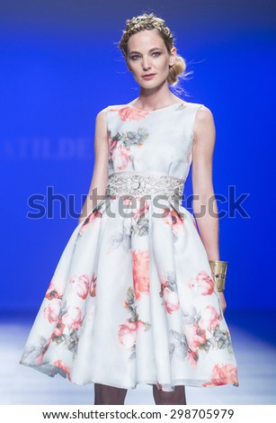 BARCELONA - MAY 07: a model walks on the Matilde Cano bridal collection 2016 catwalk during the Barcelona Bridal Week runway on May 07, 2015 in Barcelona, Spain.  - stock photo