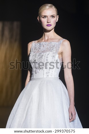 BARCELONA - MAY 07: a model walks on the Patricia Avendano bridal collection 2016 catwalk during the Barcelona Bridal Week runway on May 07, 2015 in Barcelona, Spain.  - stock photo
