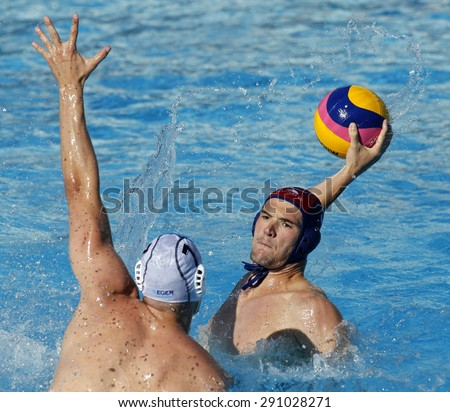 BARCELONA - MAY, 28: Aaron Younger of Vaterpolski klub Jug Dubrovnik during a LEN Champions League Final Six match against ZF Eger at the Picornell Swimming pool on May 28 2015 in Barcelona Spain - stock photo
