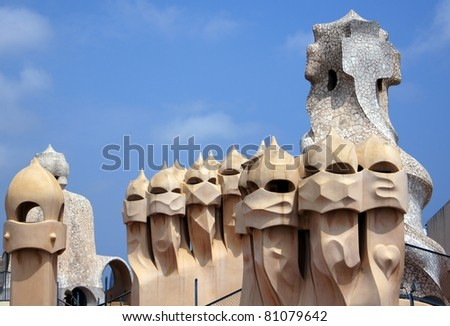 BARCELONA - MAY 27: Abstract chimey of Casa Mila (La Pedrera) on May 27, 2011 in Barcelona, Spain. La Pedrera was built in 1906-1910 by the most famous catalan architector Anthoni Gaudi. - stock photo