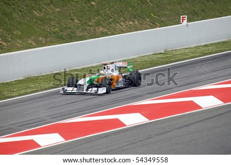 "BARCELONA- MAY 9:Adrian Sutil of Force India    in action during The Formula 1 Grand Prix at autodrome ""Catalunya Montmello"" on May 9, 2010 in Barcelona. - stock photo"