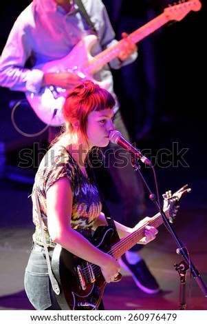 BARCELONA - MAY 30: Angel Olsen (folk and indie rock singer and guitarist raised in Missouri) in concert at Heineken Primavera Sound 2014 Festival (PS14) on May 30, 2014 in Barcelona, Spain. - stock photo