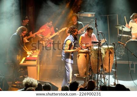 BARCELONA - MAY 27: Antibalas (afrobeat band) performance at Heineken Primavera Sound 2014 Festival (PS14) on May 27, 2014 in Barcelona, Spain. - stock photo