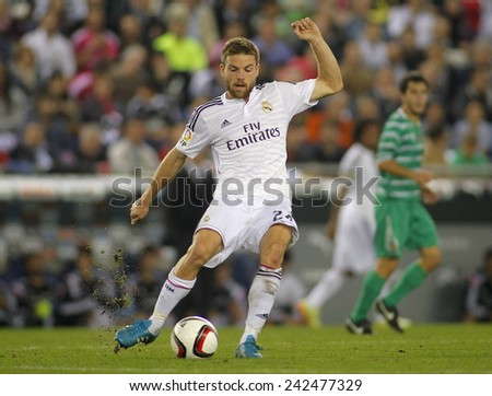 BARCELONA - MAY,11: Asier Illarramendi of Real Madrid during the Spanish Kings Cup match against UE Cornella at the Estadi Cornella on October 29, 2014 in Barcelona, Spain - stock photo