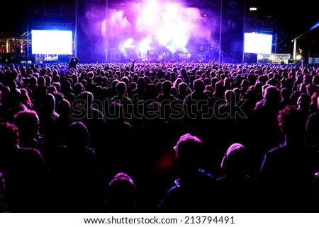 BARCELONA - MAY 28: Audience at the Mogwai (band) concert at Heineken Primavera Sound 2014 Festival (PS14) on May 28, 2014 in Barcelona, Spain. - stock photo