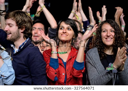 BARCELONA - MAY 28: Audience clapping at Primavera Sound 2015 Festival on May 28, 2015 in Barcelona, Spain.  - stock photo