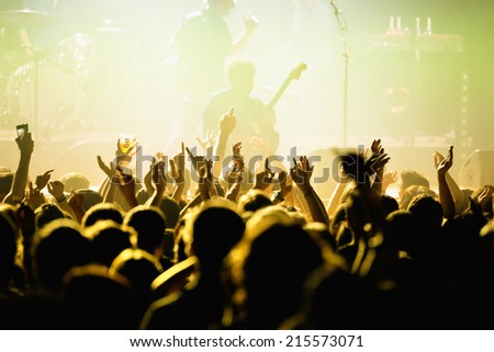 BARCELONA - MAY 16: Audience in a concert at Razzmatazz discotheque on May 16, 2014 in Barcelona, Spain.
