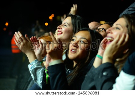 BARCELONA - MAY 30: Audience watch a concert at Heineken Primavera Sound 2014 Festival (PS14) on May 30, 2014 in Barcelona, Spain. - stock photo