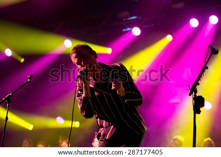 BARCELONA - MAY 29: Belle and Sebastian (band) performs at Primavera Sound 2015 Festival on May 29, 2015 in Barcelona, Spain. - stock photo