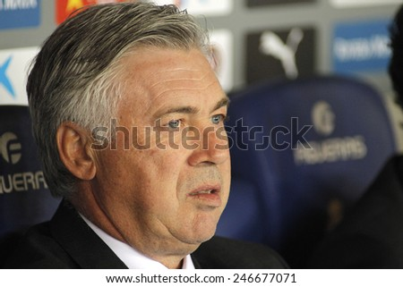 BARCELONA - MAY,11: Carlo Ancelotti of Real Madrid before the Spanish Kings Cup match against UE Cornella at the Estadi Cornella on May 11, 2014 in Barcelona, Spain - stock photo