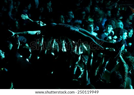 BARCELONA - MAY 30: Crazy audience in a concert at Heineken Primavera Sound 2014 Festival (PS14) on May 30, 2014 in Barcelona, Spain. - stock photo