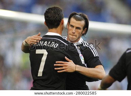 BARCELONA - MAY, 17: Cristiano Ronaldo and Gareth Bale of Real Madrid during a Spanish League match against RCD Espanyol at the Power8 stadium on Maig 17 2015 in Barcelona Spain - stock photo