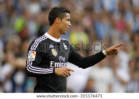 BARCELONA - MAY, 2015: Cristiano Ronaldo of Real Madrid celebrating a goal during a Spanish League match against RCD Espanyol at the Power8 stadium on Maig 17 2015 in Barcelona Spain - stock photo
